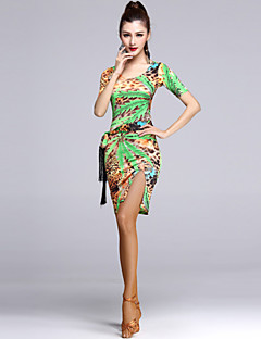 Dança Latina Vestidos Mulheres Actuação Viscose Pano 1 Peça Vestidos M:91  L:93