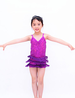 Latin Dance Dancewear Adults' Children's Sequin Fringe Biketard Latin Outfit