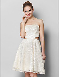 TS Couture® Cocktail Party Dress - Ivory A-line Strapless Knee-length Sequined