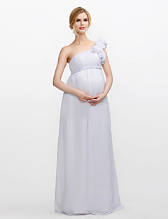 Floor-length Chiffon Bridesmaid Dress Sheath / Column One Shoulder with Draping / Flower(s)