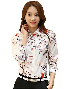 Mulheres Camisa Casual Plus Sizes Primavera,Floral Branco Poliéster Colarinho de Camisa Manga Longa Fina
