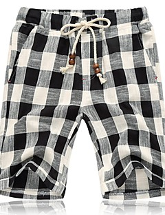 Men's Plaids Sport / Plus Sizes Shorts,Linen Black / Blue / White
