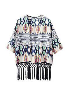 1/2 ærmelængde Hængende krave Solid Kvinders Grøn Trykt mønster Sommer Simpel Casual/hverdag Skjorte,Polyester