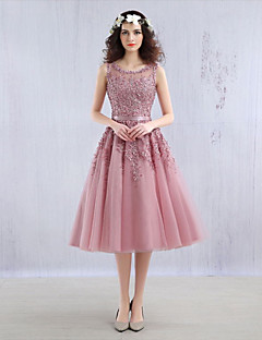 Ball Gown Jewel Neck Tea Length Tulle Cocktail Party Dress with Beading