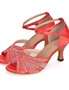Obyčejné-Dámské-Taneční boty-Břišní / Latina / Jazz / Moderní / Vystupovací / Swing-Satén-Rozšiřující se-Černá / Modrá / Fialová / Červená