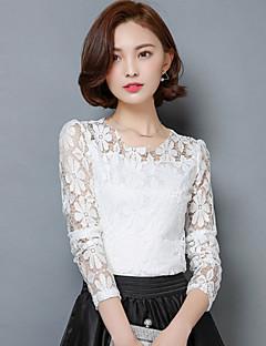 Mulheres Blusa Formal Simples Verão,Sólido Azul / Branco / Preto Acrílico / Poliéster Decote Redondo Manga Longa Opaca