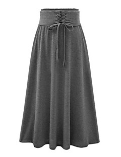 Women's Solid Black / Gray Skirts,Vintage / Street chic Maxi