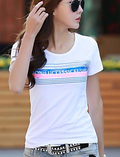 여성의 프린트 라운드 넥 짧은 소매 블라우스,스트리트 쉬크 캐쥬얼/데일리 레드 / 화이트 / 블랙 / 그레이 / 옐로 면 여름 중간