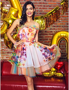 TS Couture® Cocktail Party Dress A-line Strapless Short / Mini Organza / Satin with Ruffles
