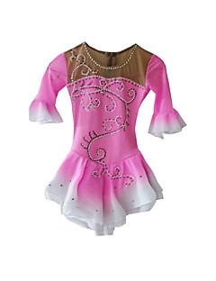 Šaty na krasobruslení Dámské Polodlouhé rukávy Brusle Sukně a šaty / Šaty Krasobruslení šaty elastan Růžová Bruslařské oblečeníOblečení