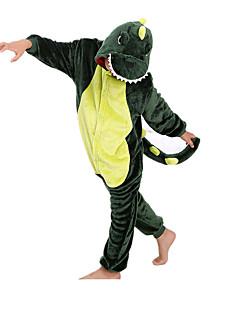 Kigurumi Pyjamas Dinosaur Trikot/Heldragtskostumer Festival/Højtider Nattøj Med Dyr Halloween Grøn Patchwork Kigurumi Til BarnHalloween
