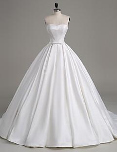 Lanting Bride A-line Wedding Dress-Court Train Strapless Satin