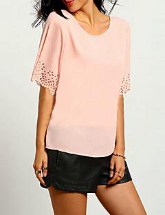 Damen Solide Einfach / Street Schick Ausgehen Bluse,Rundhalsausschnitt Kurzarm Rosa Polyester Dünn