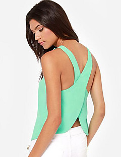 Women's Solid Criss-Cross Chiffion Backless Sexy Candy Colors Tanks,U Neck Sleeveless
