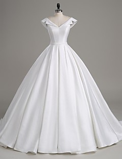 Lanting Bride® A-line Wedding Dress Court Train V-neck Satin with Button