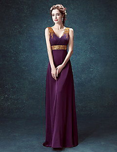 Formal Evening Dress Sheath / Column V-neck Floor-length Satin / Tulle with Beading / Sequins