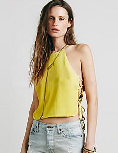 Enfärgad Ärmlös T-shirt Kvinnors Halterneck Akryl / Polyester