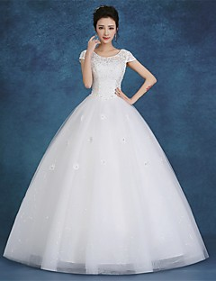 Ball Gown Wedding Dress Simply Sublime Floor-length Scoop Satin Tulle with Lace