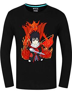 Inspirado por Naruto Sasuke Uchiha Animé Disfraces de cosplay Tops Bottoms Cosplay Estampado Negro Manga Larga Top