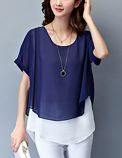 여성의 패치 워크 라운드 넥 짧은 소매 블라우스,플러스 사이즈 / 심플 / 스트리트 쉬크 데이트 블루 / 핑크 / 레드 / 그린 폴리에스테르 얇음