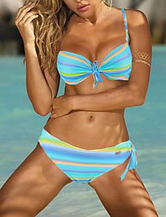 Womens Sexy Halter Colorful Stripe Push UP Bikini Set