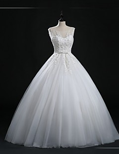 Ball Gown Wedding Dress Floor-length Scoop Tulle with Button / Appliques / Beading