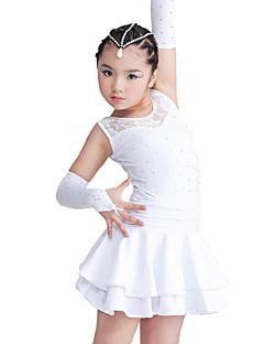 Dança Latina Vestidos Crianças Actuação Elastano / Poliéster Cristal/Strass / Renda / Camadas 3 Peças Sem Mangas Luvas / VestidosXXXS:65