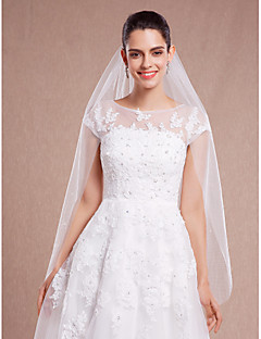 Wedding Veil One-tier Fingertip Veils / Headpieces with Veil Cut Edge 47.24 in (120cm) Tulle Ivory