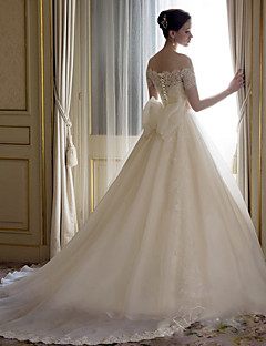 Vestido de Noiva-Branco Trapézio Ombro a Ombro Cauda Catedral Renda / Cetim / Tule
