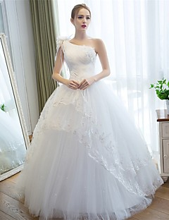 Ball Gown Wedding Dress Lacy Look Floor-length One Shoulder Satin Tulle with Appliques Flower Lace