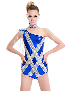 Clubwear Unitards Women's Spandex / Polyester / Elastic Woven Satin / Sequined Sequins / Tassel(s) Black / Blue / RedClubwear /