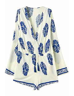 Women's Print Blue/White Short Jumpsuits, Sexy Beach Deep V Neck Long Sleeve