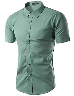 Men's Short Sleeve Shirt,Cotton / Acrylic / Polyester Casual / Work Solid 916101