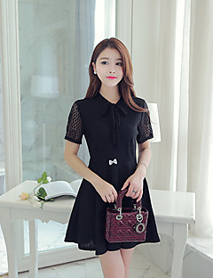 Women's Simple Solid Lace Dress,Shirt Collar Mini Polyester