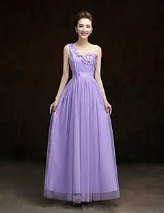 Ankle-length Lace / Satin / Tulle Bridesmaid Dress A-line One Shoulder with Flower(s)