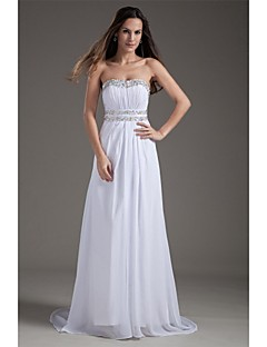 Sheath / Column Wedding Dress Sweep / Brush Train Strapless Chiffon with Beading / Draped
