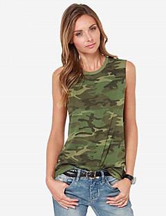 Women's Casual/Daily Street chic Summer Tanks,Galaxy Round Neck Sleeveless Green Cotton / Linen Medium