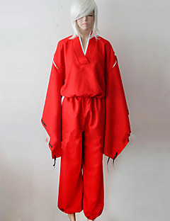 Inspired by InuYasha Inu Yasha Anime Cosplay Costumes Cosplay Suits / Kimono Solid Red Long Sleeve Top / Pants / Belt