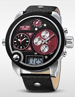 WEIDE® Men's Brand Luxury Analog & Digital Three Time Black Leather Quartz Watch Cool Watch Unique Watch