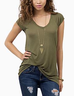 Vrouwen Eenvoudig / Street chic T-shirt,Uitgaan Effen Ronde hals Korte mouw Groen Rayon Dun