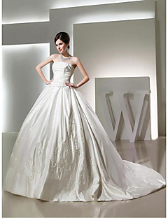 Ball Gown Wedding Dress Chapel Train Strapless Satin with Beading / Embroidered