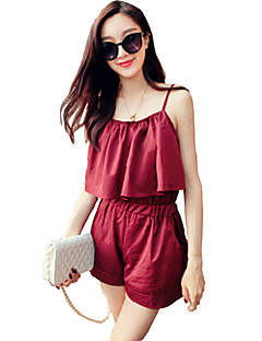 Women's Solid Red / Black Jumpsuits,Casual / Day Strap Sleeveless