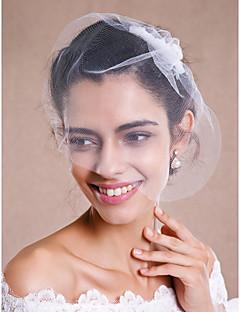 הינומות חתונה שכבה אחת צעיפי סומק / צעיפי אצבע / כיסויי ראש עם הינומה קצה גולמי טול לבן