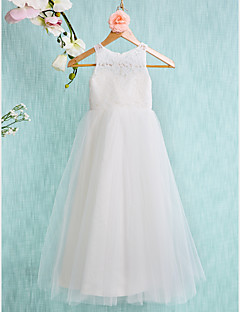 A-line Ankle-length Flower Girl Dress - Lace Tulle Jewel with Lace Pleats