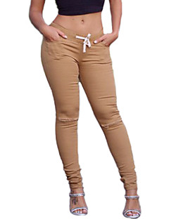 Women Solid Color / Shredded Legging,Cotton / Spandex Medium