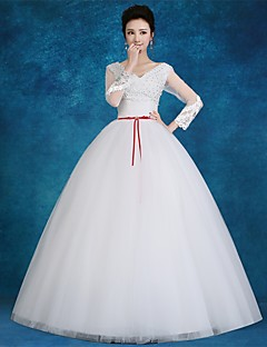 Ball Gown Wedding Dress-White Floor-length V-neck Satin / Tulle