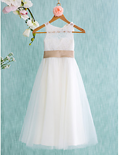 A-line Tea-length Flower Girl Dress - Lace Tulle Jewel with Bow(s) Sash / Ribbon Pleats