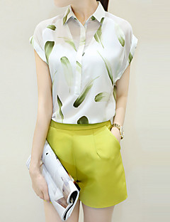 Women's Casual/Daily Street chic Summer Set,Print Shirt Collar Short Sleeve White Rayon / Polyester Thin