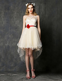 Asymmetrical Lace / Tulle Bridesmaid Dress - A-line One Shoulder with Lace / Sash / Ribbon