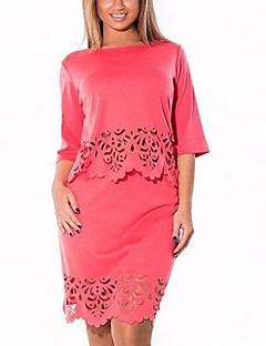 1/2 ærmelængde Kvinders Ensfarvet Rund hals Sæt Rayon / Polyester